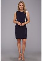 DKNY DKNYC Matte Jersey Drop Shoulder Draped Front Dress w/ Exposed Zipper