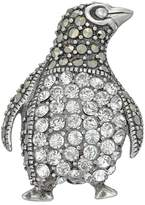 Tori Hill Sterling Silver Marcasite & Crystal Penguin Pin