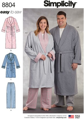 Simplicity Women's and Men's Robe Sewing Pattern, 8804
