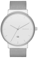 Skagen Skw6290 Ancher Date Bracelet Strap Watch, Silver/white
