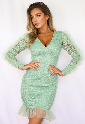 Missguided Sage Lace V Neck Frill Hem Mini Dress