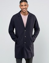 Asos Single Breasted Overcoat In Navy