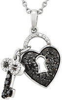 FINE JEWELRY 1/2 CT. T.W. White and Color-Enhanced Black Diamond Sterling Silver Key to My Heart Pendant Necklace