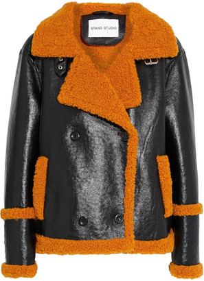 Stand Studio Lilli Double-breasted Glossed Faux Shearling Jacket