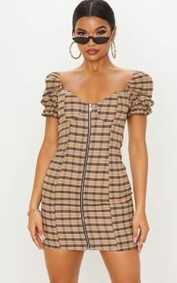 PrettyLittleThing Beige Check Puff Sleeve Zip Front Shift Dress