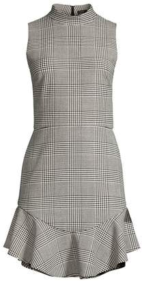 Alice + Olivia Rapunzel Glen Plaid Mockneck Flounce Hem Sheath Dress
