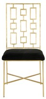 The Well Appointed House Worlds Away David Gold Leafed Dining Chair with Black Velvet Seat