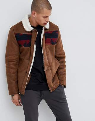 Asos Design DESIGN faux shearling jacket with aztec in tan