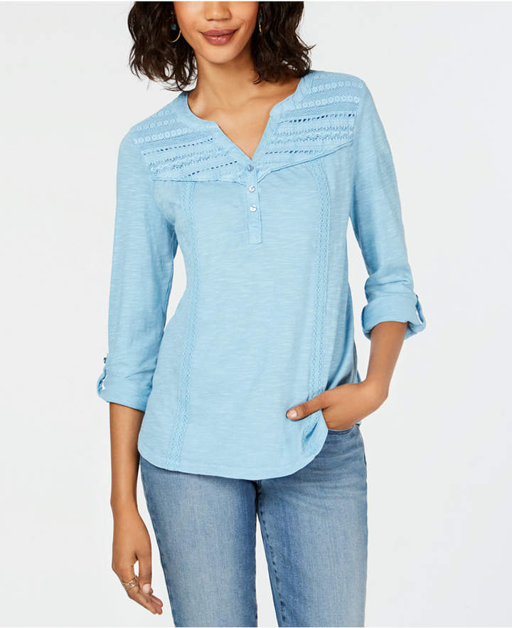 Style&Co. Style & Co Cotton Crochet-Trim Roll-Tab Top