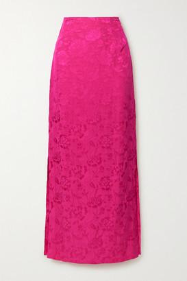 STAUD Saman Floral-jacquard Maxi Skirt - Fuchsia