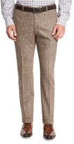 Isaia Donegal Flat-Front Trousers, Brown