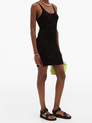 Marques Almeida Feather-embellished Rib-knitted Mini Dress - Black