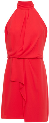 Halston Bow-detailed Draped Crepe Mini Dress