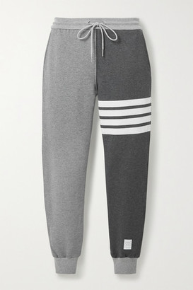 Thom Browne Color-block Striped Cotton-jersey Track Pants - Gray