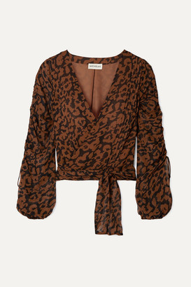 Nicholas Ruched Leopard-print Silk-chiffon Wrap Top - Brown