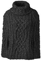 Lands' End Women's Hand Knit Cropped Cable Cape-Jet Black
