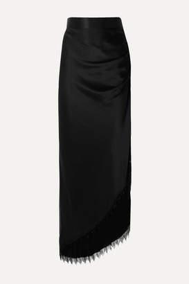 Michael Lo Sordo Asymmetric Fringed Beaded Silk-satin Maxi Skirt - Black