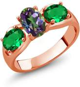 Gem Stone King 1.60 Ct Oval Mystic Topaz Simulated Emerald 18K Rose Gold Ring