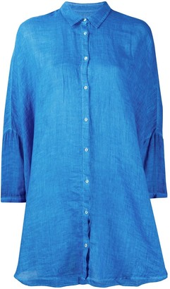 120% Lino Button Tunic-Shirt