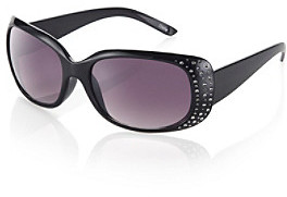 Icon Black Oval Sunglasses With Bling