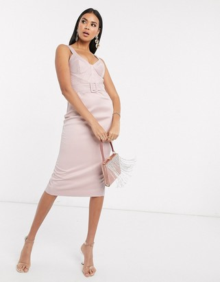 ASOS DESIGN Premium satin look quilted cupped and belted midi dress