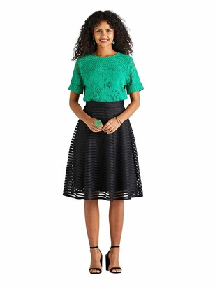 Yumi Green Lace & Broderie Short Sleeve Top