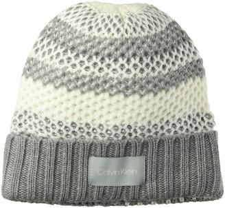 Calvin Klein Women's Waffle Knit Striped HAT