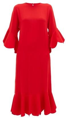 Valentino Ruffle-trimmed Silk Dress - Red