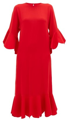Valentino Ruffle-trimmed Silk Dress - Womens - Red