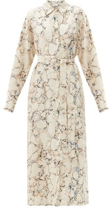 Raey Belted Marble-print Silk Shirtdress - Grey Print
