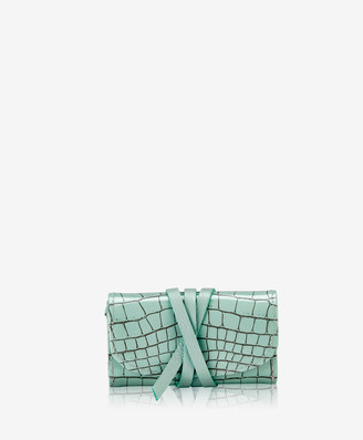 GiGi New York Small Mint Jewelry Roll, Crocodile Embossed Leather
