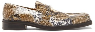 Martine Rose Python-embossed Leather Penny Loafers - Womens - White Multi