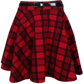 Purple Hanger Womens New Tartan Check Printed Ladies Short Mini Slim Detachable Waist Belted Flared Pleated Skater Red Skirt Size 8 - 10
