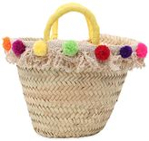 Straw Bag W/ Pompom & Fringes