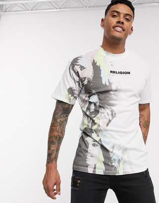 Religion logo t-shirt with graphic fade in white