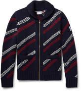 Moncler Gamme Bleu Jacquard-knit Wool Zip-up Cardigan - Navy