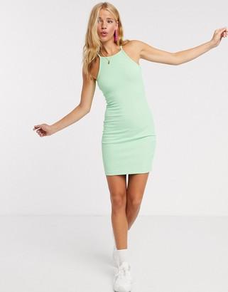 Monki Alexandra ribbed jersey mini dress in green