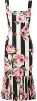 Dolce & Gabbana Printed Silk-blend Midi Dress - White