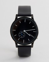 Komono Winston Subs Leather Watch In Black