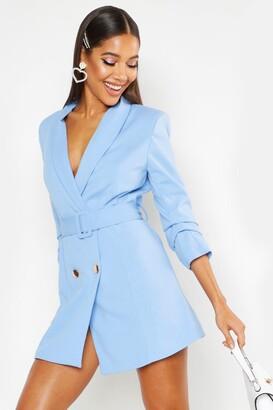 boohoo Woven Tailored Belted Blazer Dress