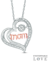 """Zales Unstoppable LoveTM Diamond Accent """"mom"""" Tilted Heart Pendant in Sterling Silver and 10K Rose Gold"""