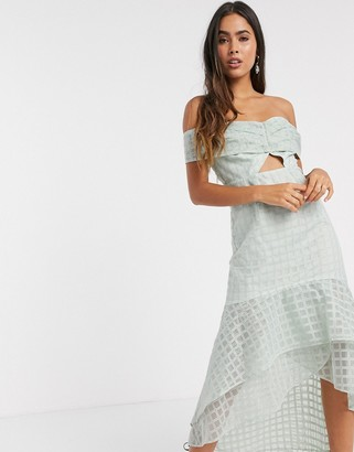 ASOS DESIGN off shoulder embrodiered midi pencil dress with ruffle detail and knot tie in light blue