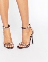 Missguided Velvet Barely There Heeled Sandals