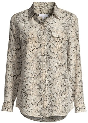 Equipment Python Print Silk Blouse