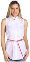 Paperwhite S/L Soustache Tunic w/ Grosgrain Belt (White) - Apparel