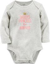 Carter's Long-Sleeve Grey Princess Slogan Bodysuit - Baby Girls newborn-24m
