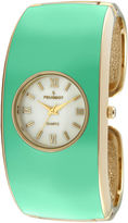Peugeot Womens Green Enamel Cuff Bangle Watch