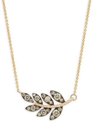 LeVian Chocolatier 14K Honey Gold Chocolate Vanilla Diamonds Leaf Pendant Necklace