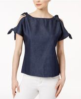 Kensie Cotton Tie-Sleeve Cold-Shoulder Top