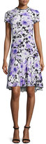 Naeem Khan Short-Sleeve Floral-Print Cocktail Dress, Purple/White